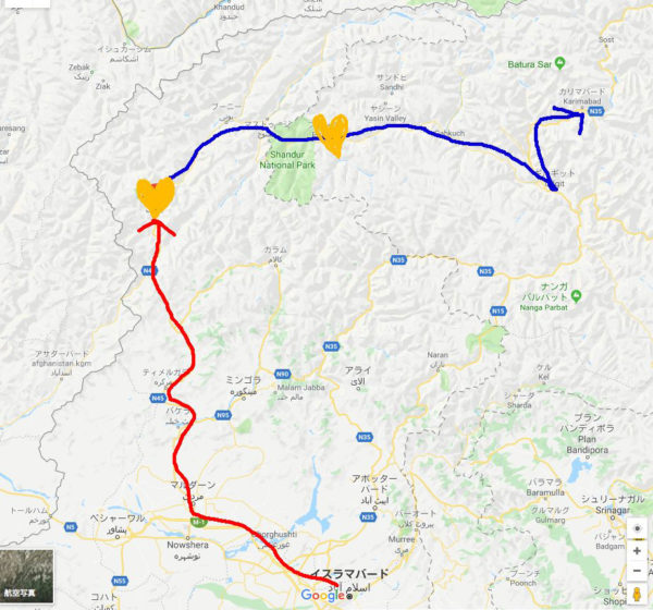 チトラールからシャンドゥール峠を越えてフンザへ行くルート