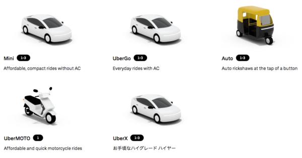 Uberで呼べる車